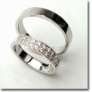 【お得な2本セット価格/送料無料】ホワイトゴールドダイヤペアリング【刻印・文字彫り無料】結婚指輪・マリッジリング・記念日・ギフト
