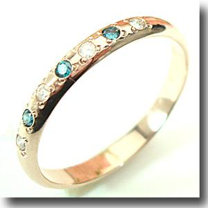 【ゴールドダイヤ&ブルーダイヤ7石 】人気のピンクゴールドリング【刻印・文字彫り無料】結婚指輪/マリッジリング/記念日/ギフト/指輪/リング/ring