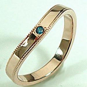 【ピンクゴールドセンターミルウチリング】ヒラウチ 人気のピンクゴールド リング【刻印・文字彫り無料】結婚指輪 マリッジリング 記念日 ギフト ブルーダイヤ ring 指輪