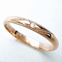 【ピンクゴールドリング 】ミル打ち☆デザイン♪ダイヤ付【送料無料】ピンクゴールドリング【刻印・文字彫り無料】結婚指輪・マリッジリング・記念日・ギフト 05P04Jul11