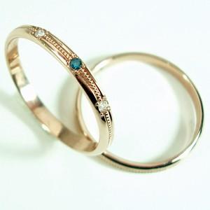【ピンクゴールドダイヤ真ん中ミルウチ】中心石が選べますペアリング【刻印・文字彫り無料】結婚指輪・マリッジリング・記念日・ギフト