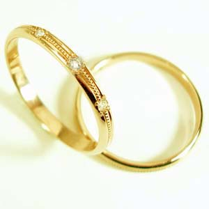お得な2本セット価格送料無料ゴールドダイヤペアリング【刻印・文字彫り無料】結婚指輪・マリッジリング・記念日・ギフト 05P13Jan12