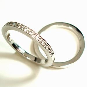 【2本セット価格/送料無料】ホワイトゴールドダイヤペアリング【刻印・文字彫り無料】結婚指輪・マリッジリング・記念日・ギフト