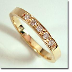 k14ゴールドリング♪ダイヤ5石平打ち リング【刻印・文字彫り無料】結婚指輪・マリッジリング・記念日・ギフト