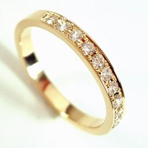ゴールドリング♪ダイヤ10石平打ち リング【刻印・文字彫り無料】結婚指輪・マリッジリング・記念日・ギフト