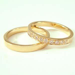 お得な2本セット価格送料無料ゴールドダイヤペアリング【刻印・文字彫り無料】結婚指輪・マリッジリング・記念日・ギフト【 05P13Jul11