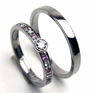 【お得な2本セット価格】ダイヤ&ピンクサファイヤリング☆プラチナリングダイヤペアリング【刻印・文字彫り無料】結婚指輪 マリッジリング 記念日 ギフト ダイヤモンド ダイアモンド platinum ring プラチナ指輪 指輪