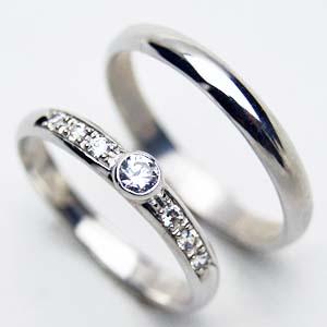 【お得な2本セット価格/送料無料】人気のホワイトゴールドダイヤペアリング【刻印・文字彫り無料】結婚指輪・マリッジリング・記念日・ギフト 【0304superP5】