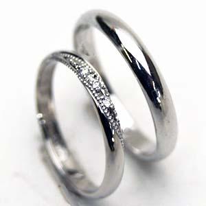【お得な2本セット価格/送料無料】ホワイトゴールド  甲丸リング ダイヤペアリング【刻印・文字彫り無料】結婚指輪・マリッジリング・記念日・ギフト  【0304superP5】