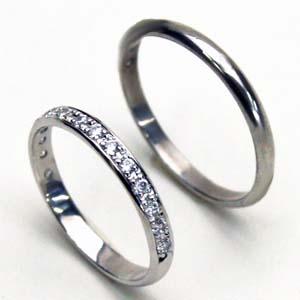 結婚指輪お得な2本セット価格送料無料ホワイトゴールド ハーフエタニティーダイヤペアリング【刻印・文字彫り無料】結婚指輪・マリッジリング・記念日・ギフト