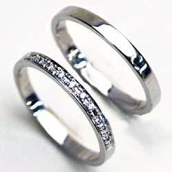 ダイヤモンドリング プラチナ 無料ブルーダイヤ付 細身タイプ お得なリング2本セット【送料無料】 ペアリング 刻印無料 ダイヤリング 指輪 ハーフエタニティリング リング 華奢 結婚指輪 ペアアクセサリー お揃い指輪 ダイヤモンド 文字彫り無料