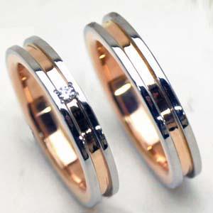 【結婚指輪 マリッジリング プラチナ &ピンクゴールド】【お得な2本セット価格/送料無料】人気 ヒラウチ ミル打ちリング ダイヤペアリング【刻印・文字彫り無料】指輪 ダイヤモンド リング platinum ring プラチナ指輪 ダイアモンド ダイヤ プラチナリング