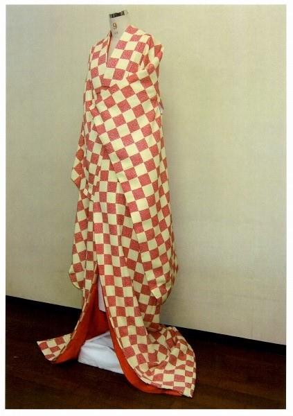 新商品 赤 ふくれ織 市松柄 掛下 【受注生産・お届けまで約1ヶ月です】[代引き不可]