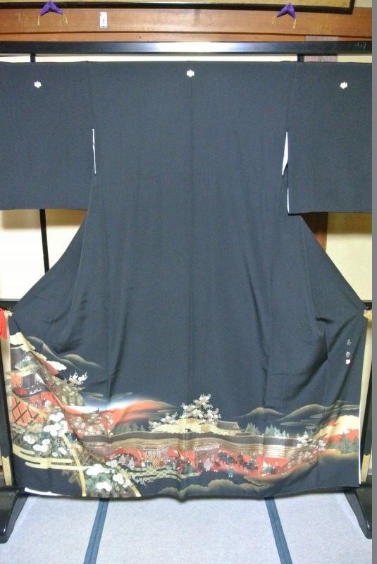 No.094 正絹 留袖 良好 【中古】 (裄65、袖丈47、身丈(肩から)158、前24、後30センチ、五三の桐)