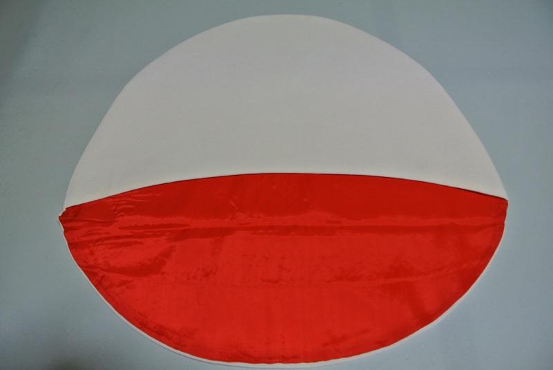 No.015 正絹 綿帽子 極上美品 【中古】 (横60、縦丈59) 縮緬 白 裏赤