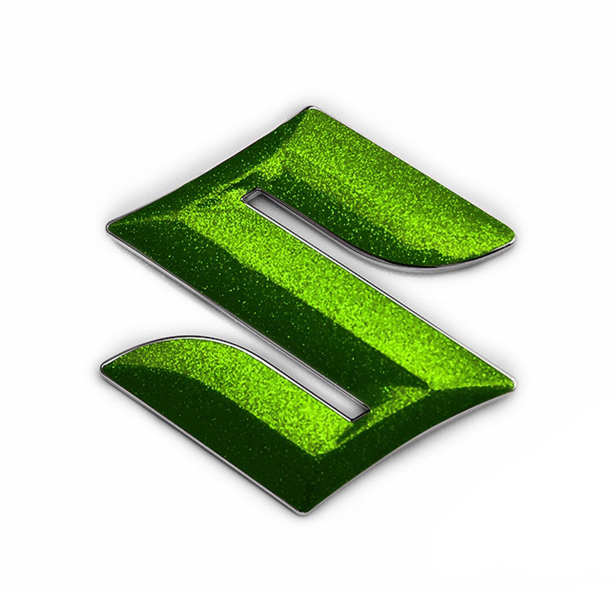店 メール便送料無料 格安 SUZUKI SWIFT RS ZC83S用パーツ BATBERRYエンブレムフィルム EFZ05m スズキマーク ハンドル用 粗目メタリックライトグリーン ■高さ45mmのエンブレムに対応 スイフトRS ステアリング ZC83S メタリックフレークシート