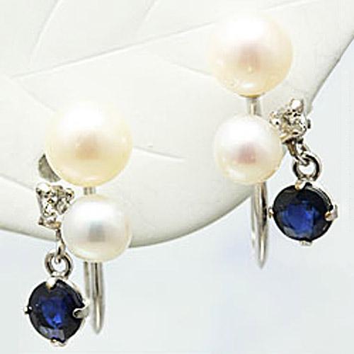 淡水真珠とダイヤモンドとカラーストーンの14金ホワイトゴールドイヤリング