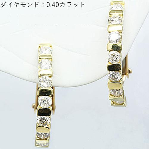 ダイヤモンドのハーフエタニティータイプ 18金イエローゴールドイヤリング