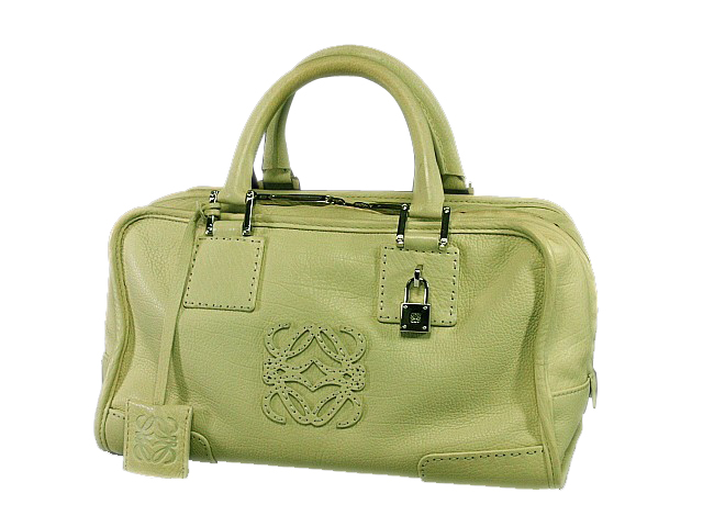 富士屋◆送料無料◆値下げ品◆ロエベ LOEWE アマソナ28 クリームイエロー レザー ハンドバッグ
