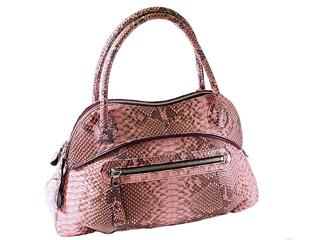富士屋 本物◆ 送料無料 デポー ハンドバッグ 財布セット 中古 パイソン ピンク