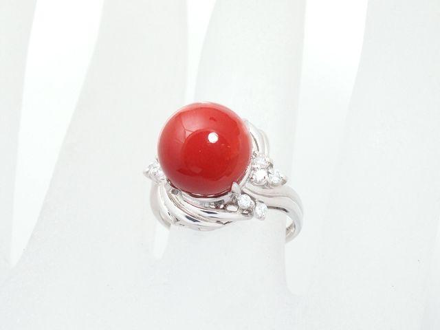 富士屋◆送料無料◆値下げ品◆サンゴリング ダイヤ/0.17ct Pt900 12号【中古】
