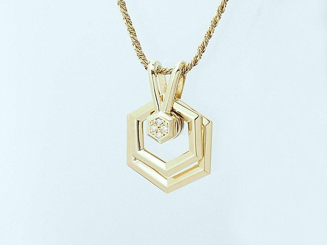 富士屋◆送料無料◆ウォルサム WALTHAM スウィングダイヤネックレス K18YG【中古】
