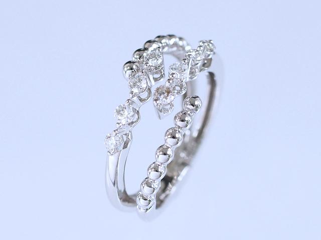 富士屋◆送料無料◆ダイヤモンド/0.30ct K18ホワイトゴールド リング サイズフリー【中古】