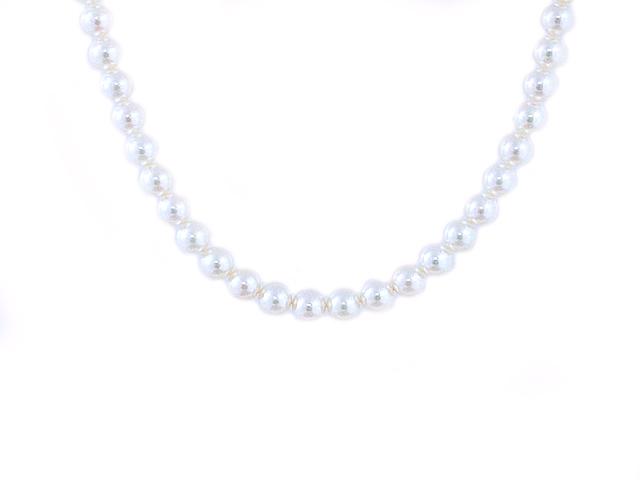 富士屋◆送料無料◆パール8.0~8.5ミリ パール ネックレス SV金具 花珠 真珠 鑑別書付き【中古】