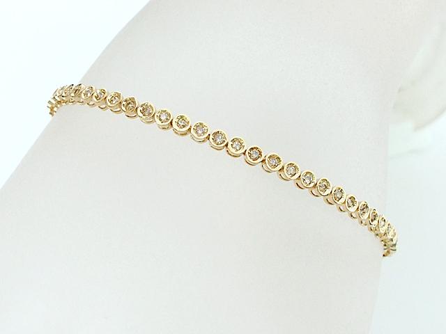富士屋◆送料無料◆K18YG ダイヤモンド/1.00ct イエローゴールド テニスブレスレット 仕上済【中古】