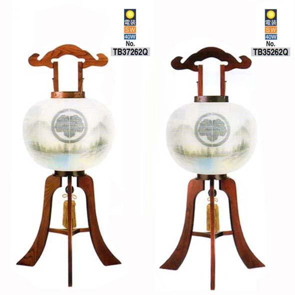 おすすめ 天然木行灯(さくら/けやき)(絹二重)10号(大和山水)家紋入り電装・スイッチ付 おすすめ