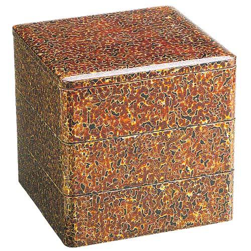 おすすめ 重箱 3段重6.5寸金虫喰塗(漆・手塗)(20-80-4)