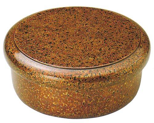 おすすめ 丸茶枢 茶びつ 茶櫃(漆・手塗)金虫喰塗10.5(19-57-1) おすすめ