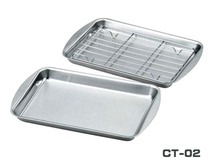 調理の下ごしらえ 食材の水切り 揚げ物の油切などに 信用 おすすめ クッキングトレー CT-02 アミ1枚付 代引き不可 2枚セット おしゃれ ネコポス対応送料無料
