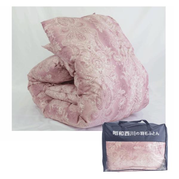 昭和西川 羽毛布団 シングルロング 150×210 ピンク フランス産 ホワイトダックダウン90% ダウンパワー360 日本製 30111-00109-293