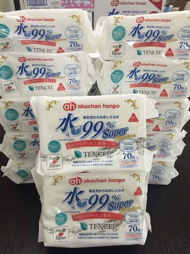 Water-99 %super wipes Premium (Tencel) 70 x 12-Pack
