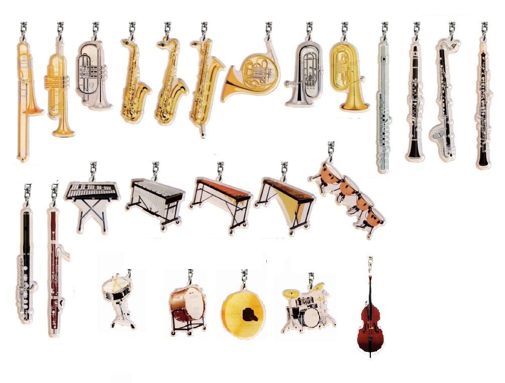 吹奏楽キーホルダー 送料無料お手入れ要らず 楽器キーホルダー 楽器ネームキーホルダー 部活 贈呈 卒業 記念品 吹奏楽