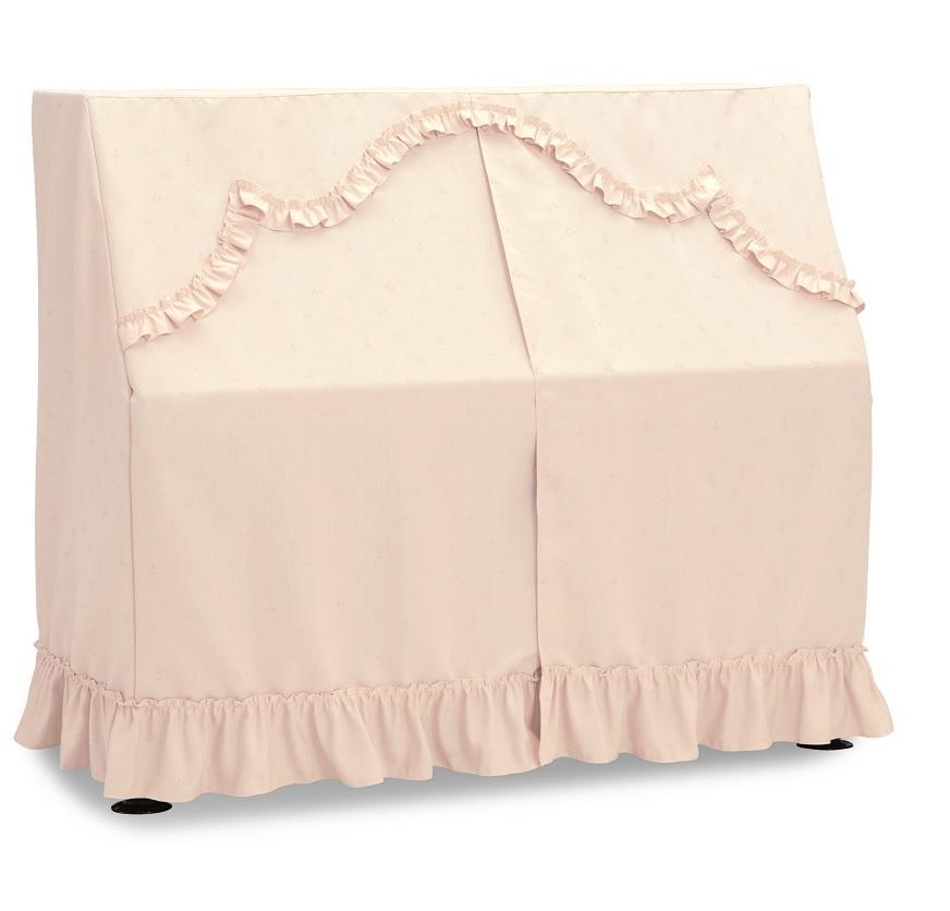 アップライトピアノカバー UP-528CP ピアノオールカバー ピンク 音符、クローバー柄ジャガード織