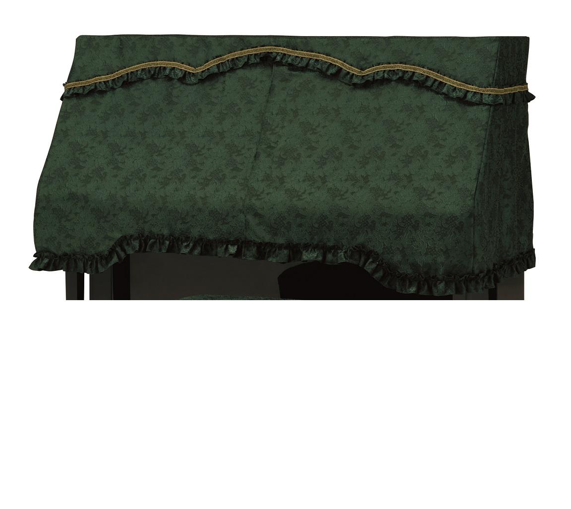 アップライトピアノカバー ダークグリーン PC-585GN グリーン花柄ジャガード織り ピアノケープ ピアノハーフカバー