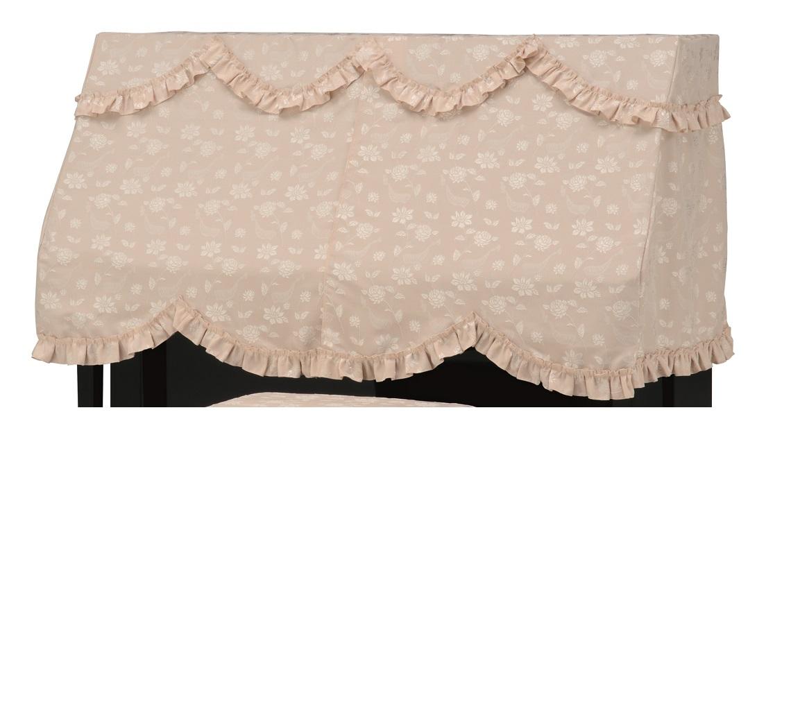 アップライトピアノカバーPC-587KB ベージュ 鍵盤花柄ジャガード織 ピアノケープ ピアノハーフカバー