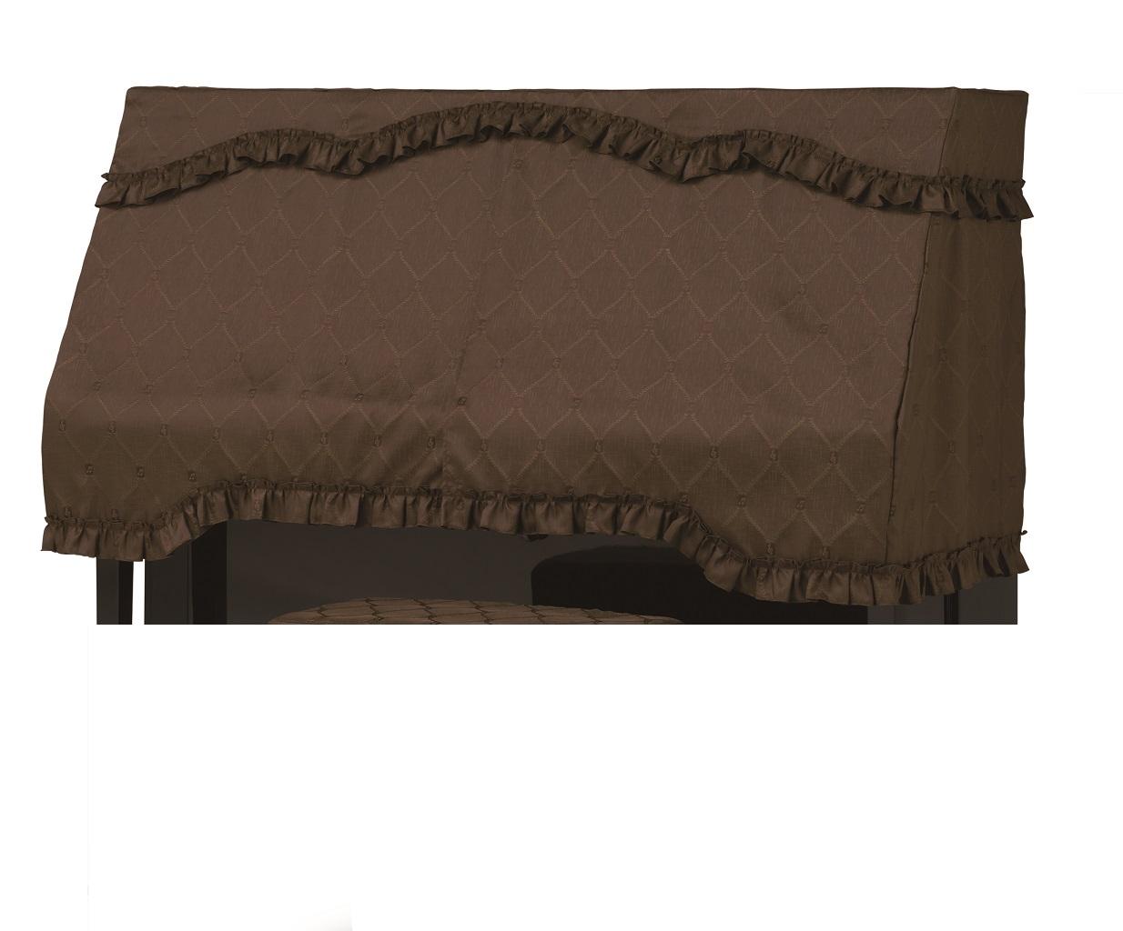 アップライトピアノカバー PC-590CB 音符・ロープ柄ジャガード織 ダークブラウン ピアノケープ ピアノハーフカバー