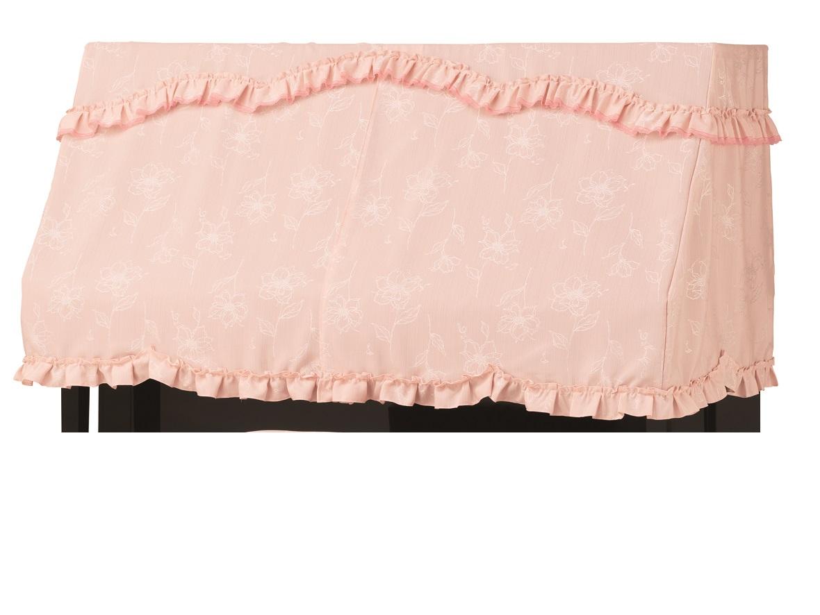 ピアノカバー PC-591LP ピンク コード刺繍調音符花柄 ピアノケープ ピアノハーフカバー