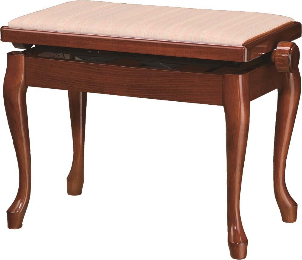 ピアノ椅子 茶 現品 SALENEW大人気! 高低椅子 ねこ脚 セミオーダー椅子 脚Yマホガニー Y-20N 塩ビレザー