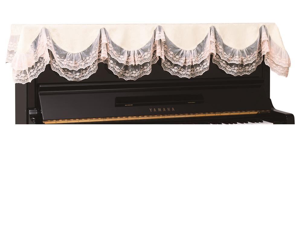 アップライトピアノトップカバーダブルチュールレース ピアノカバー LPT-263WP