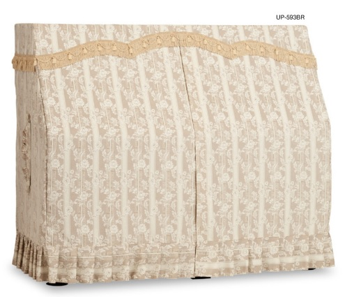 アップライトピアノカバー ブラウン UP-593BR 楽譜ボーダー柄ジャガード織