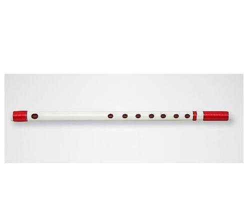 篠笛 五本調子 獅子田 竹渓 塗白  両巻き 赤ビニール巻き 大塚竹管楽器 七つ穴 六つ穴