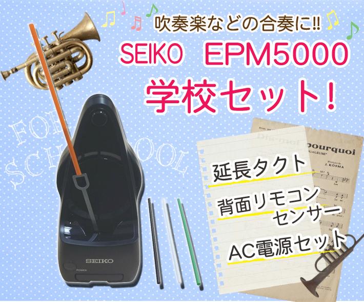 EPAD5000 振り子 付属) メトロノーム 【SEIKO】セイコー EPM5000【学校セット】(タクト延長棒・専用ACアダプター リモコン式