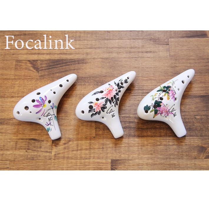 "Focalink(フォーカリンク) オカリナ アルトC管 ""磁器製""花柄"