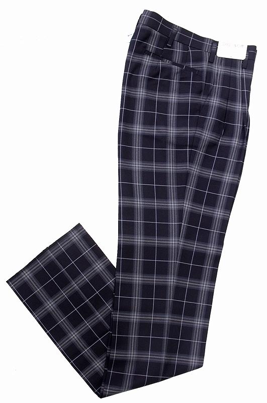 メンズ制服スラックス【KRB55S2】KURI-ORI(クリオリ)濃紺チェック水色ラインスリムツータック大きいサイズW91/95【ラッキーシール対応】