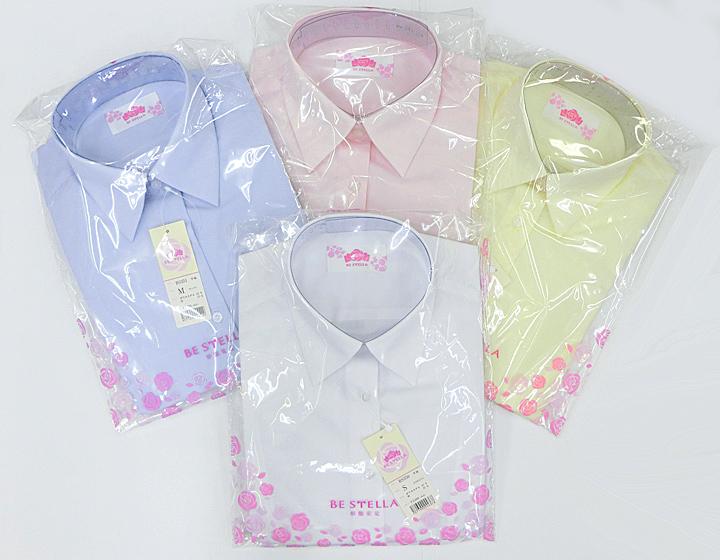 女子用制服スクールブラウスBESTELLA(ビー・ステラ)形態安定スリムシャツ半袖S〜LL(ホワイト・サックス・ピンク・イエロー)