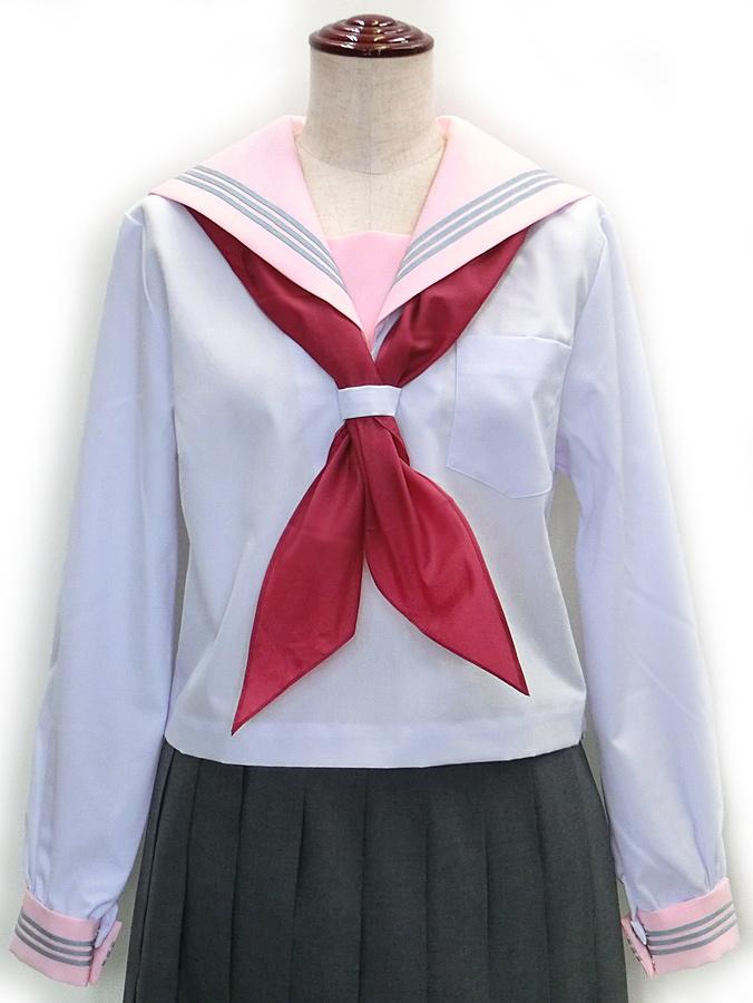 【セーラー服】長袖 クリオリ白セーラー(ピンク衿・三本線)【日本製】【ラッキーシール対応】